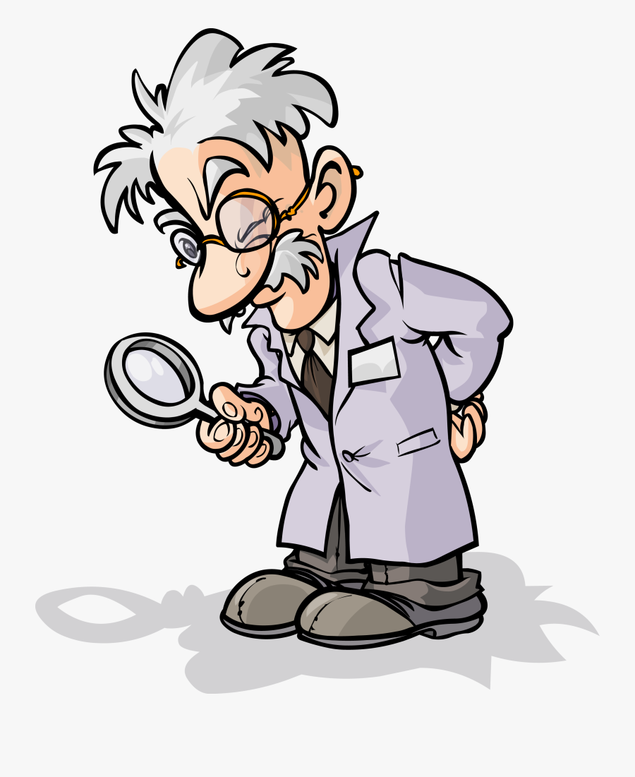 Magnifying Glass Scientist Cartoon Clip Art - Scientist With Magnifying Glass Cartoon, Transparent Clipart