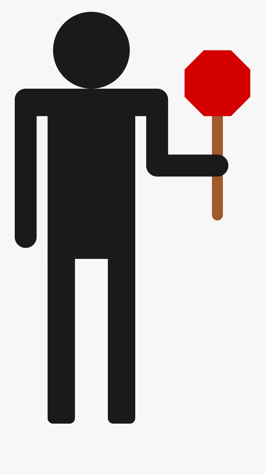 Stop Sign Clip Art Holding - Stop Sign On Stick, Transparent Clipart