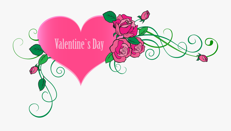 """Valentine""""s Day Clipart Valentine Rose Heart - Happy Valentines Day Flowers Clipart, Transparent Clipart"""