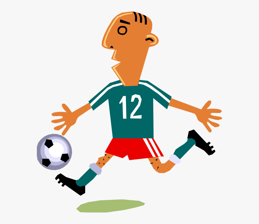 Vector Illustration Of Sport Of Soccer Football Player - Cartoon Soccer Player Kicking Ball, Transparent Clipart
