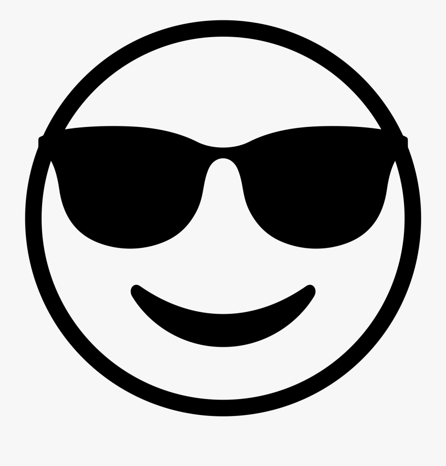 Smiley Face Black And White 24, Buy Clip Art - Sunglasses Emoji Clipart Black And White, Transparent Clipart