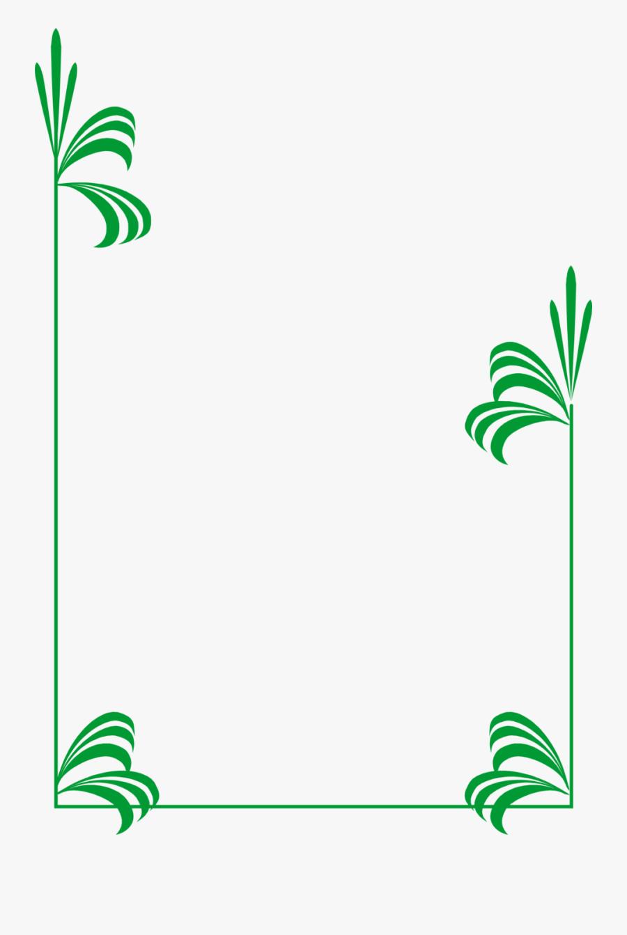Green Leaf Border Clipart - Frame Green Border Design, Transparent Clipart