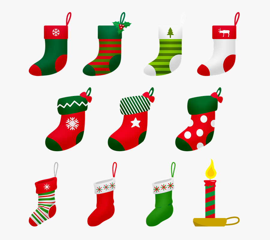 Christmas Stocking, Christmas Candle, Christmas, Advent - Transparent Background Christmas Stockings Clipart, Transparent Clipart