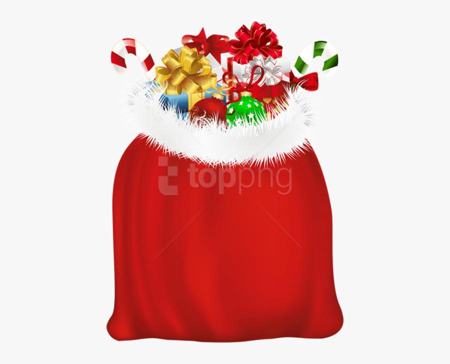 Santa Claus Gift Bag, Transparent Clipart