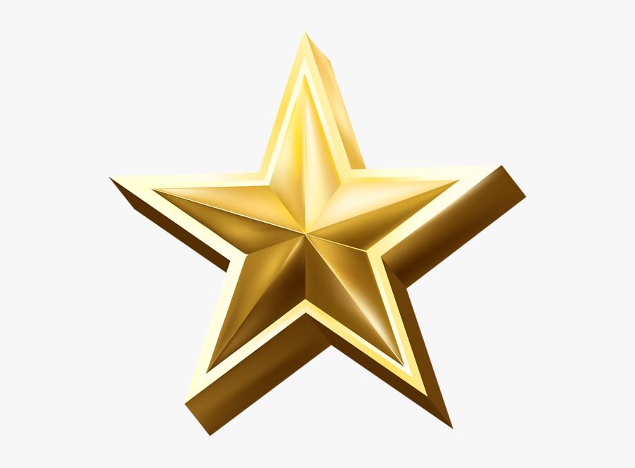 3d Golden Star Png, Transparent Clipart