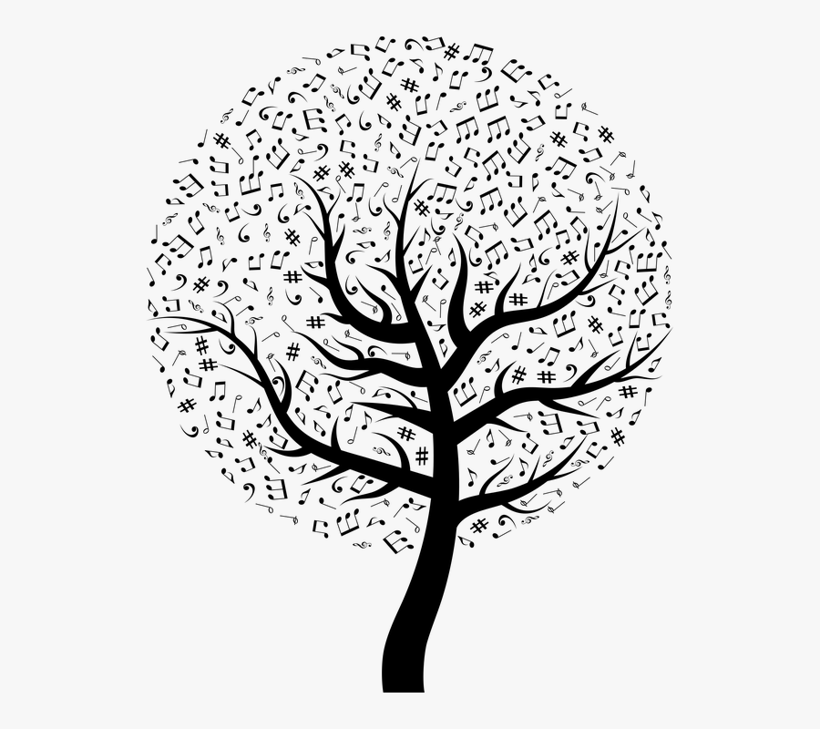 Music, Musical, Tree, Song, Sing, Notes, Clef, Bass - Music Pictures Black And White, Transparent Clipart