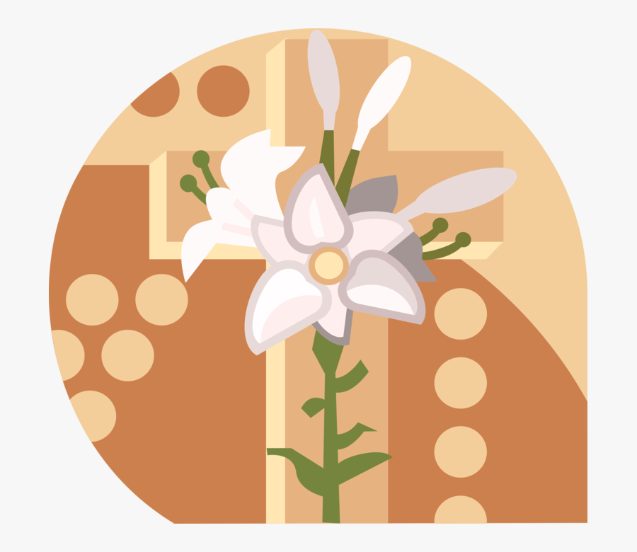 Vector Illustration Of Christian Crucifix Cross With - Easter Lilies Clip Art, Transparent Clipart
