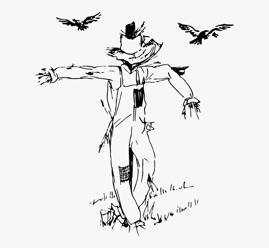 Art,monochrome Photography,beak - Black And White Scarecrow Clipart, Transparent Clipart