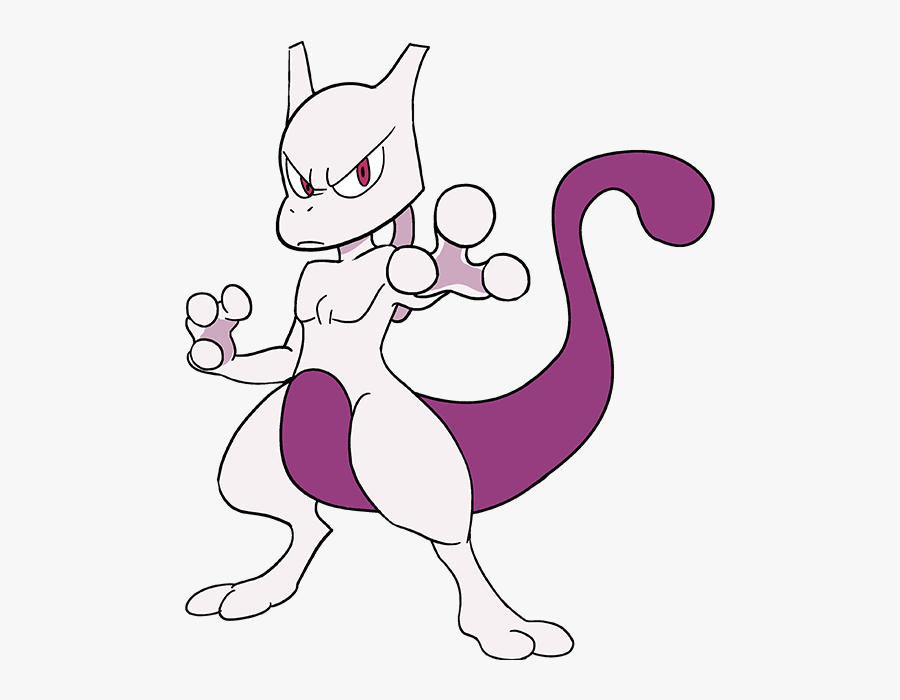 How To Draw Mewtwo From Really Easy Drawing Tutorial - Pokemon Drawings, Transparent Clipart
