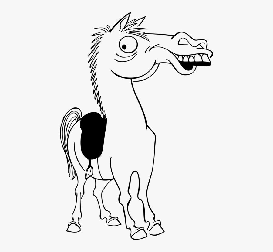 Art,monochrome Photography,beak - Cartoon Draw Caricature Horses, Transparent Clipart