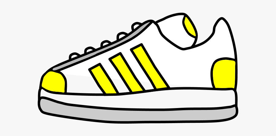 Sneakers, Tennis Shoes, Yellow Stripes - Tennis Shoe Clipart Black And White, Transparent Clipart