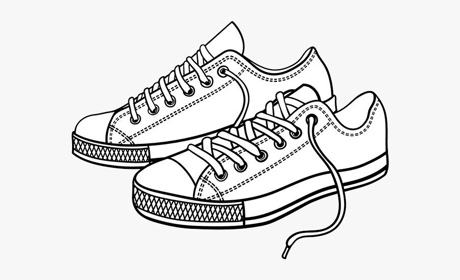Coloring Shoes Tennis Shoes Side - Cartoon Shoes Clip Art, Transparent Clipart