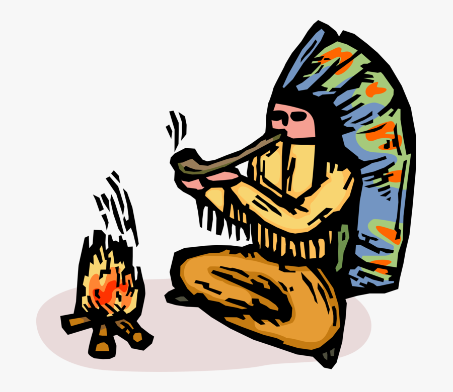 Vector Illustration Of Native American Indigenous Indian - Cartoon Indian Chief, Transparent Clipart