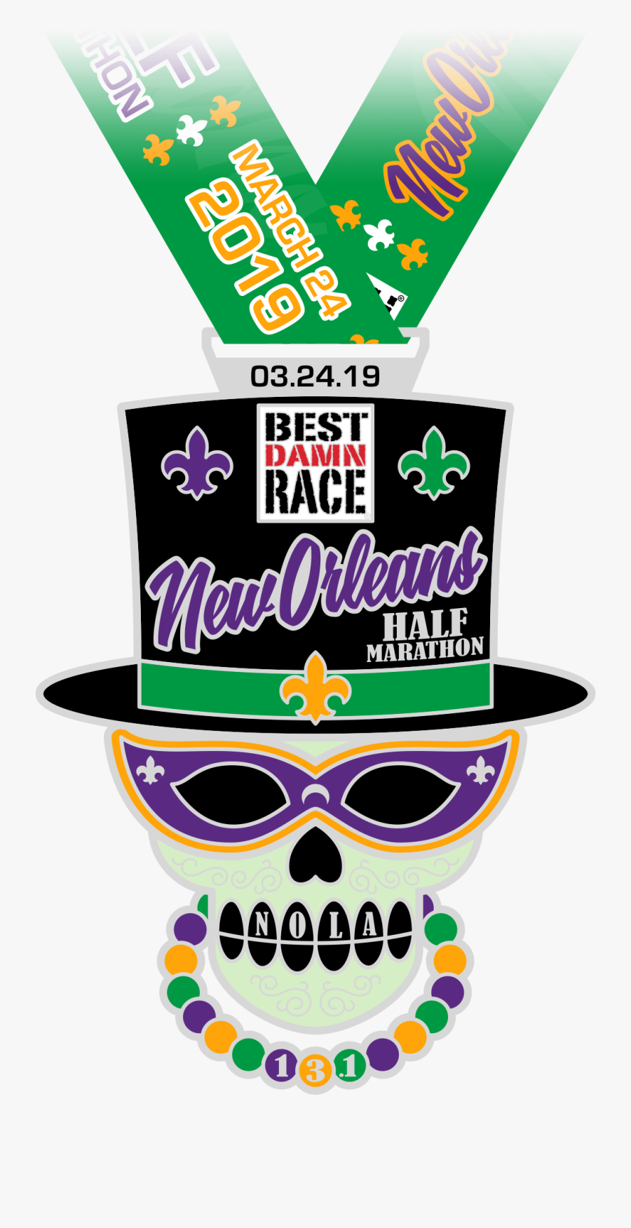 Half Marathon Medal - Best Damn Race New Orleans Medal, Transparent Clipart