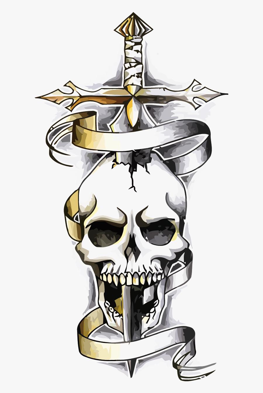 Tattoo Skeleton Skull Dragon Vector Snake Human Clipart - Dagger Skull Tattoo Designs, Transparent Clipart