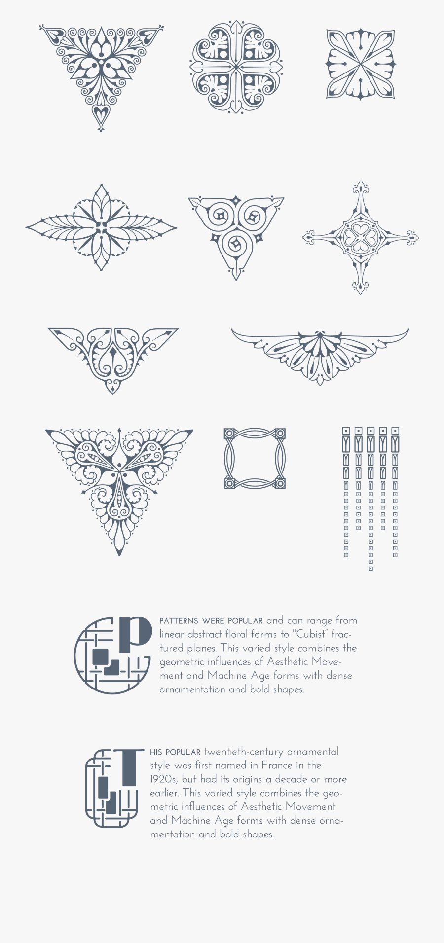 Download 170 Stylized Art Deco Illustrations And Ornaments,, Transparent Clipart