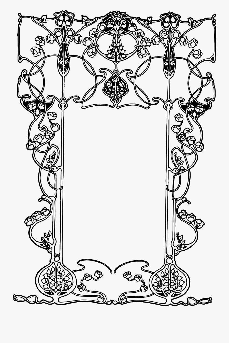 Clip Art Free Borders Png - Art Nouveau Design Png, Transparent Clipart