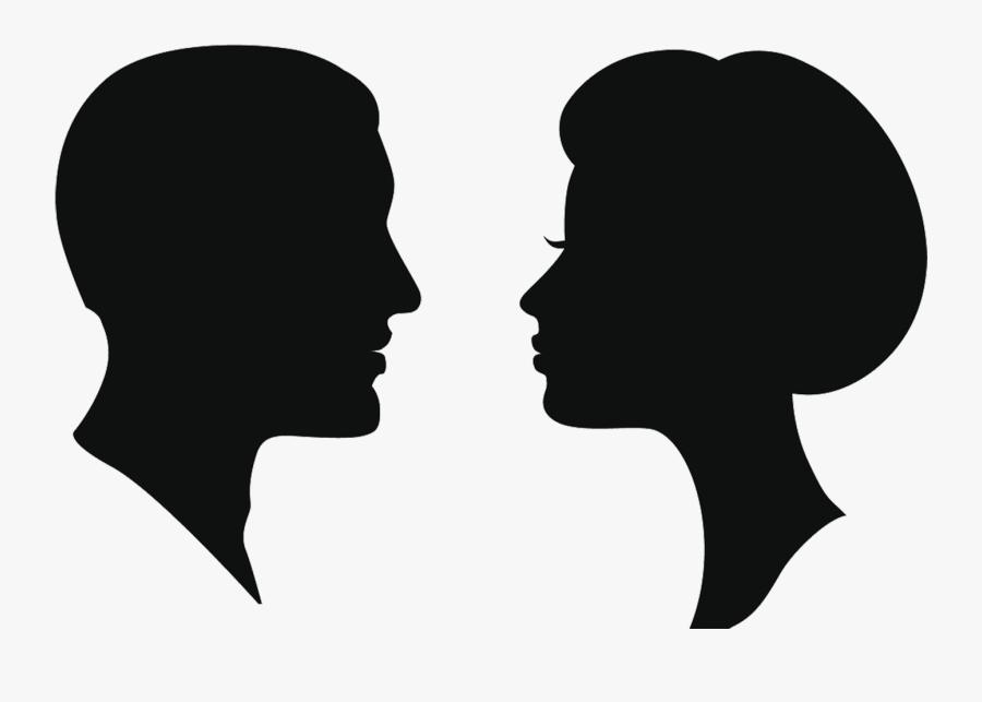 Silhouette Female Man Clip Art - Man Woman Head Silhouette, Transparent Clipart
