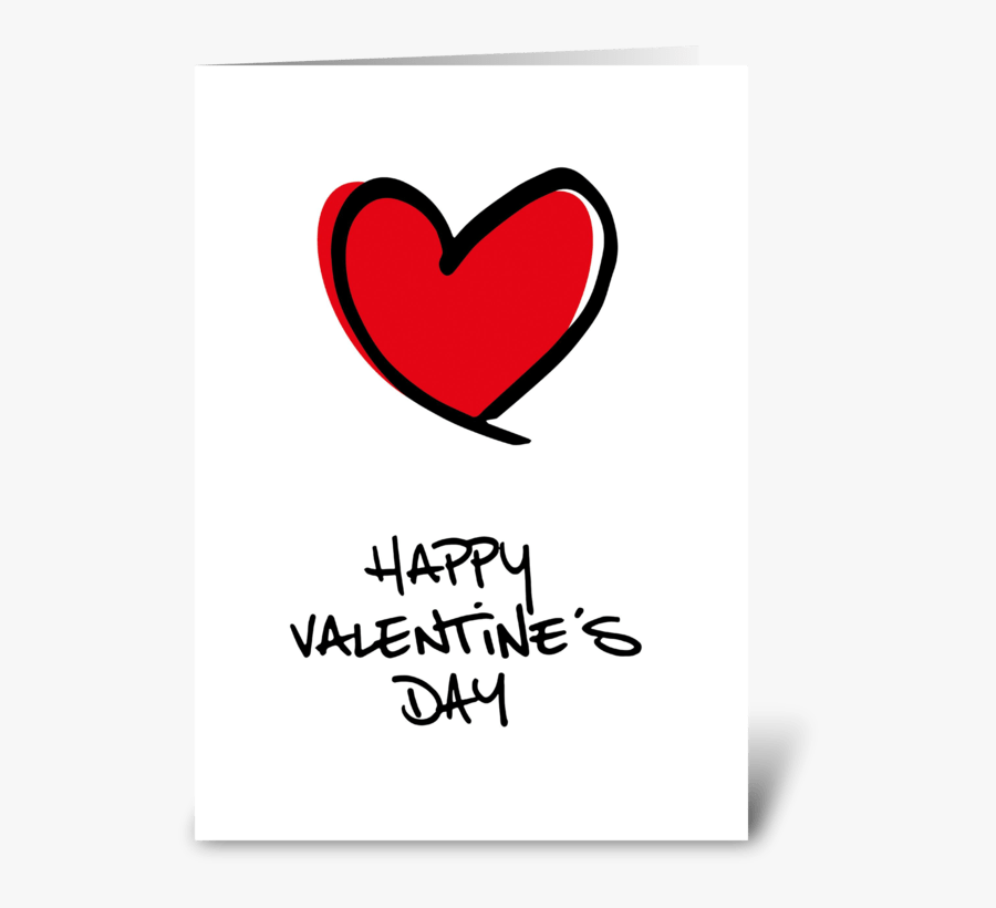"""Big Red Heart Happy Valentine""""s Day Greeting Card - Heart, Transparent Clipart"""