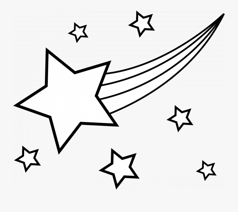 Five Pointed Star Coloring Page Printable Pages Cartoon - Shooting Star Clipart Black And White, Transparent Clipart