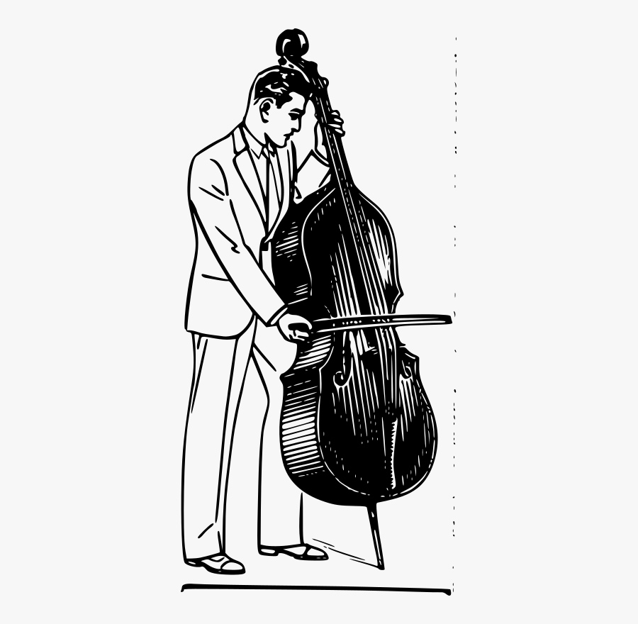 Clip Art Drawing Ubisafe Clipart Contrabass - Man Playing Bass Violin Drawing, Transparent Clipart