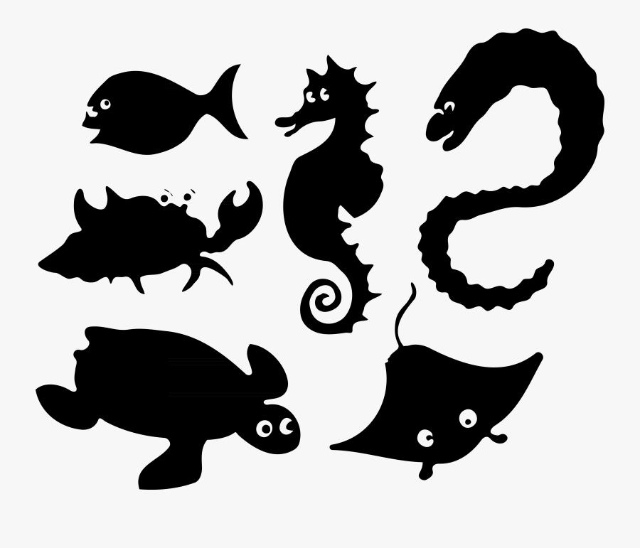 20 5bconverted 5d Clipart Sea Animals - Black Silhouette Ocean Animals, Transparent Clipart