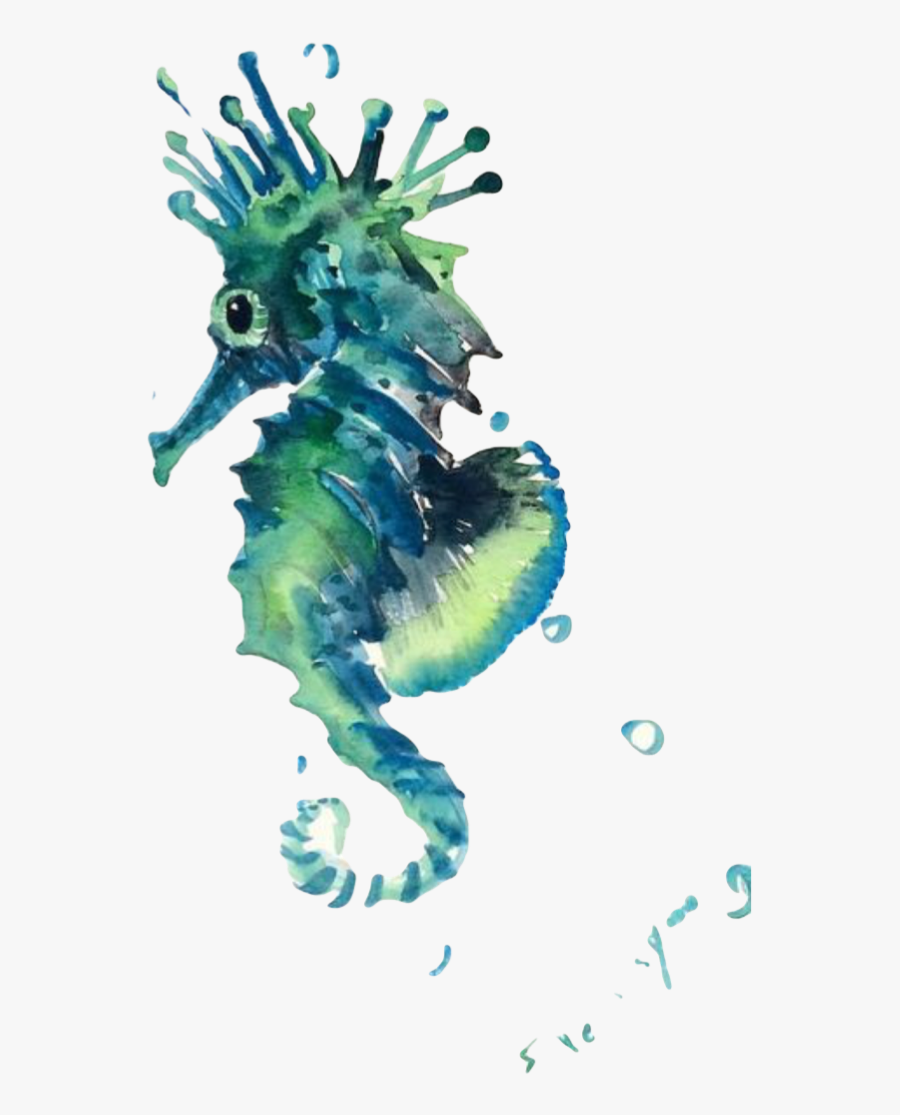 Transparent Blue Seahorse Clipart - Watercolor Sea Creature Clipart, Transparent Clipart