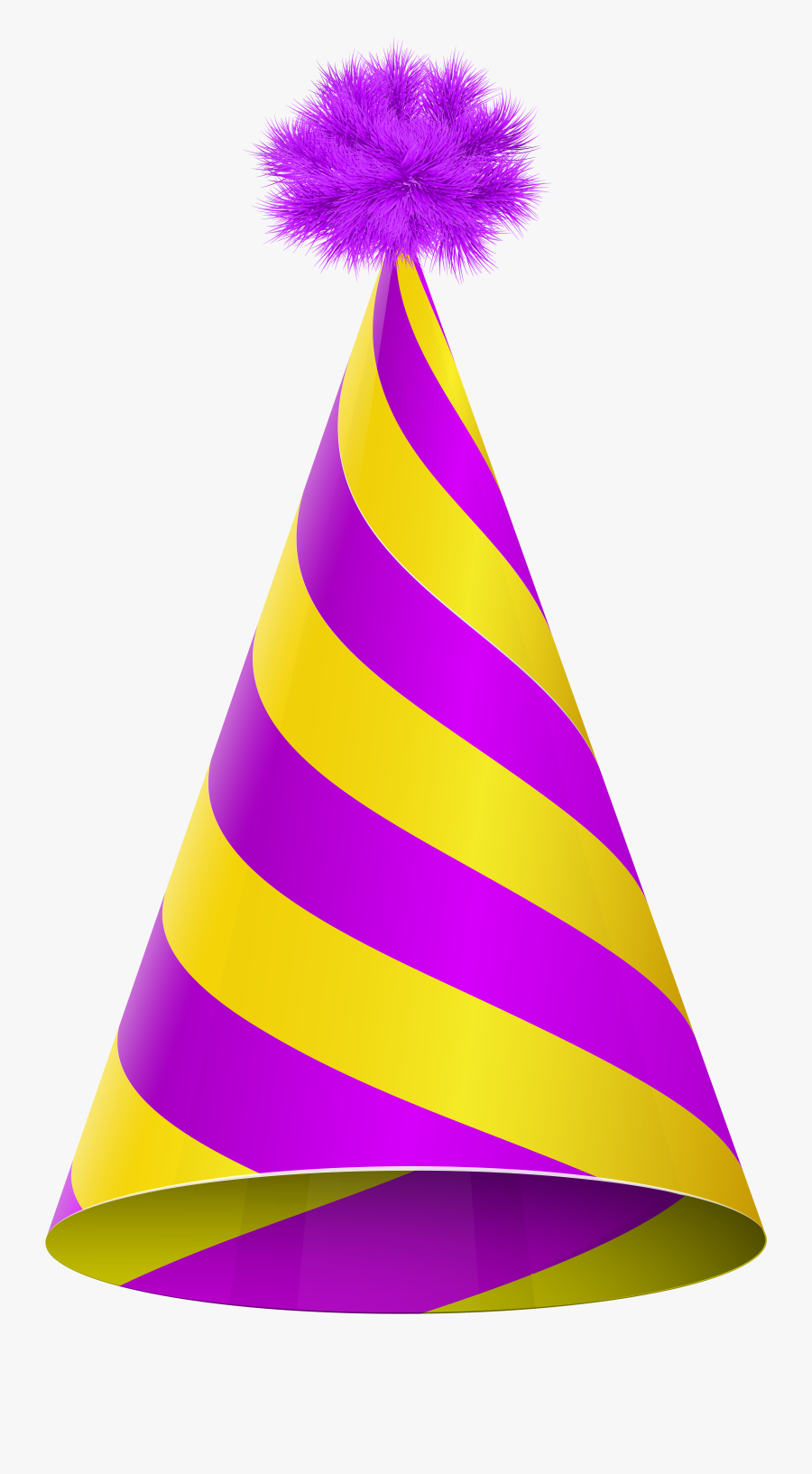 Birthday Hat Transparent Png For Kids - Yellow And Purple Party Hat, Transparent Clipart