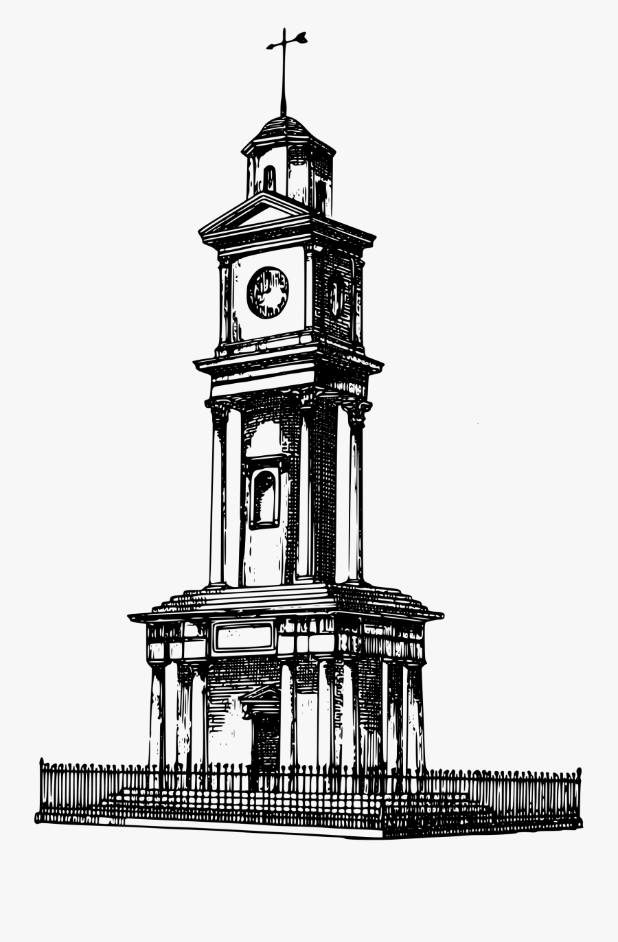 Tower Clock Clipart - Clock Tower Drawing Png, Transparent Clipart
