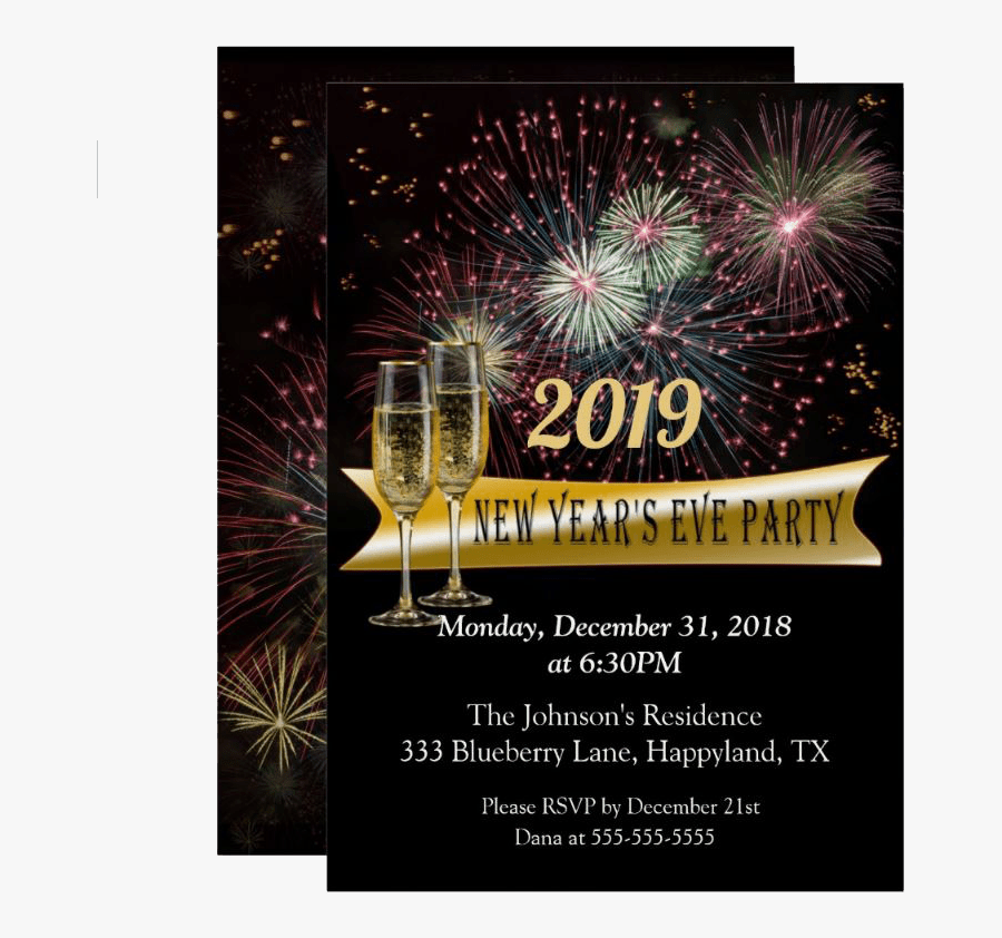 """New Year""""s Eve Fireworks Party Invitation - New Year Fireworks Invitation, Transparent Clipart"""