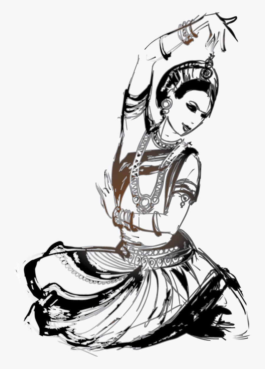 Draw Clipart Art Class - Bharatanatyam Dance Poses Drawings, Transparent Clipart