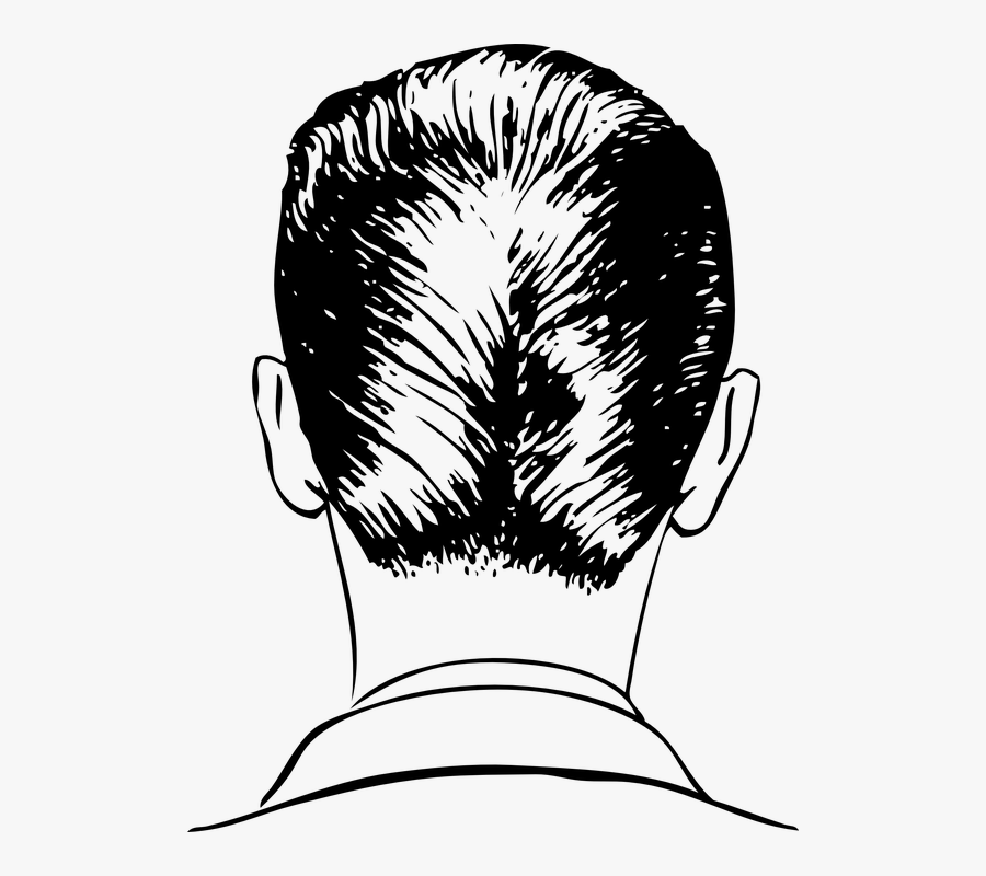 Transparent Hair Back Png - Back Of A Man's Head Drawing, Transparent Clipart