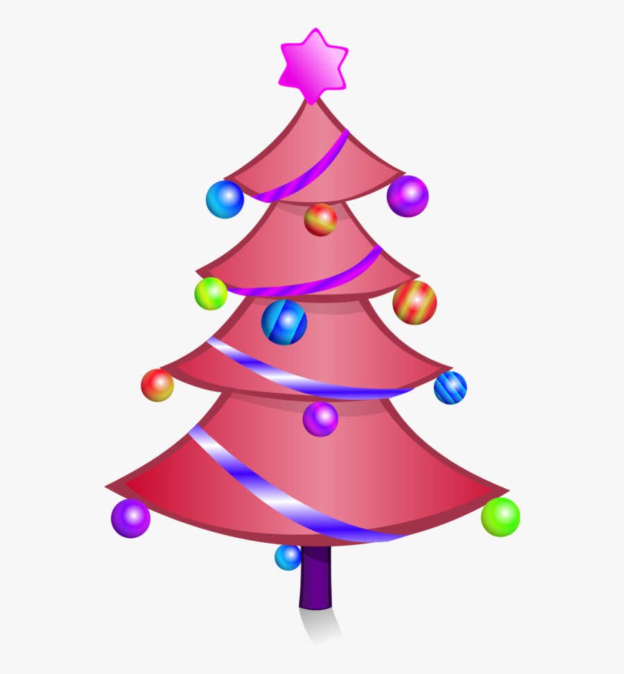 Cartoon Pink Christmas Tree Character - Christmas Tree Drawing Png, Transparent Clipart