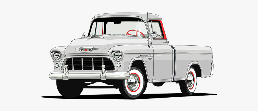 1955 Chevy 3124 Series Cameo Carrier, Transparent Clipart