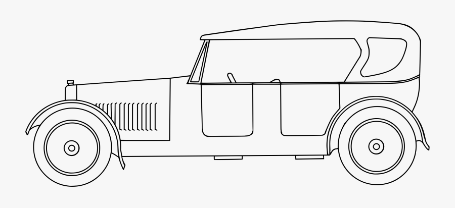 Line Art,angle,area - Line Drawing Old Car, Transparent Clipart