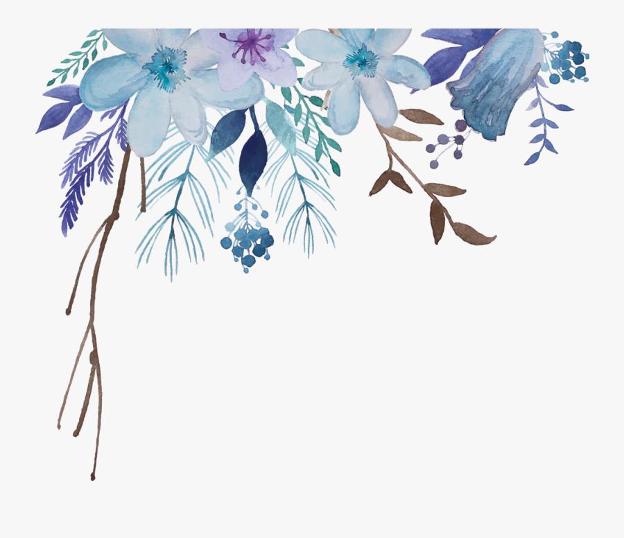 Transparent Tropical Flower Clipart - Blue Watercolor Flowers Transparent Background, Transparent Clipart