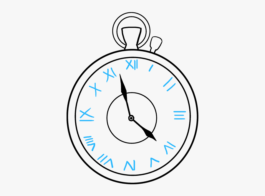 How To Draw Pocket Watch - Easy To Draw Pocket Watch, Transparent Clipart