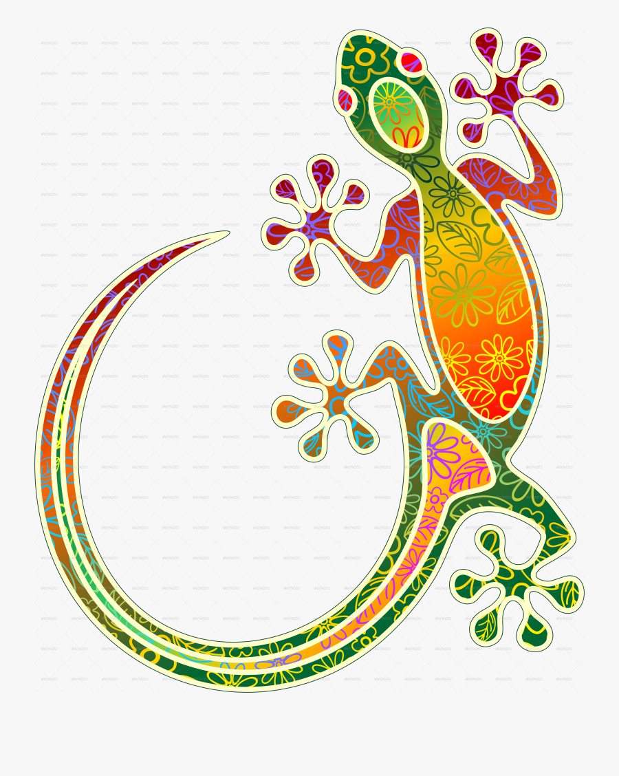 Gecko Floral Tribal Art - South East Asia Batik Designs, Transparent Clipart