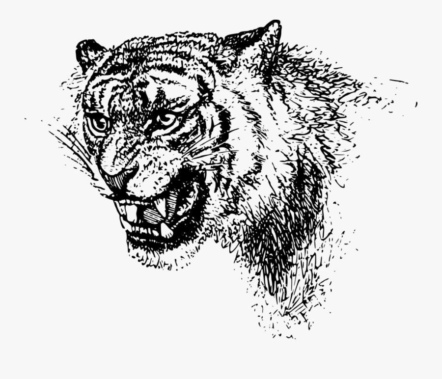 Art,monochrome Photography,carnivoran - Black Clip Art Tiger Free, Transparent Clipart