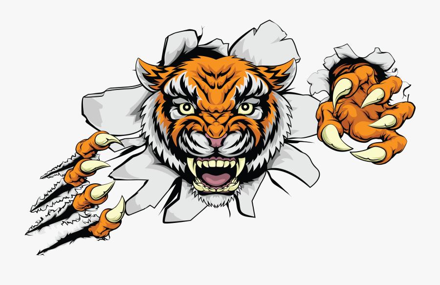 Head Ferocious Color Car Tiger Euclidean Vector Clipart - Tiger Bursting Through Wall, Transparent Clipart