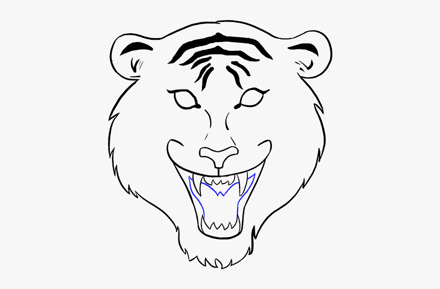 How To Draw Tiger Face - Tiger Face Drawing Easy Step By Step, Transparent Clipart