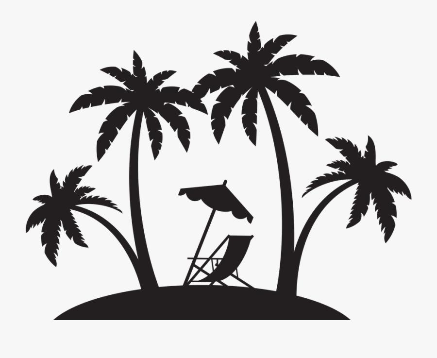 Beach Palm Trees Silhouette, Transparent Clipart
