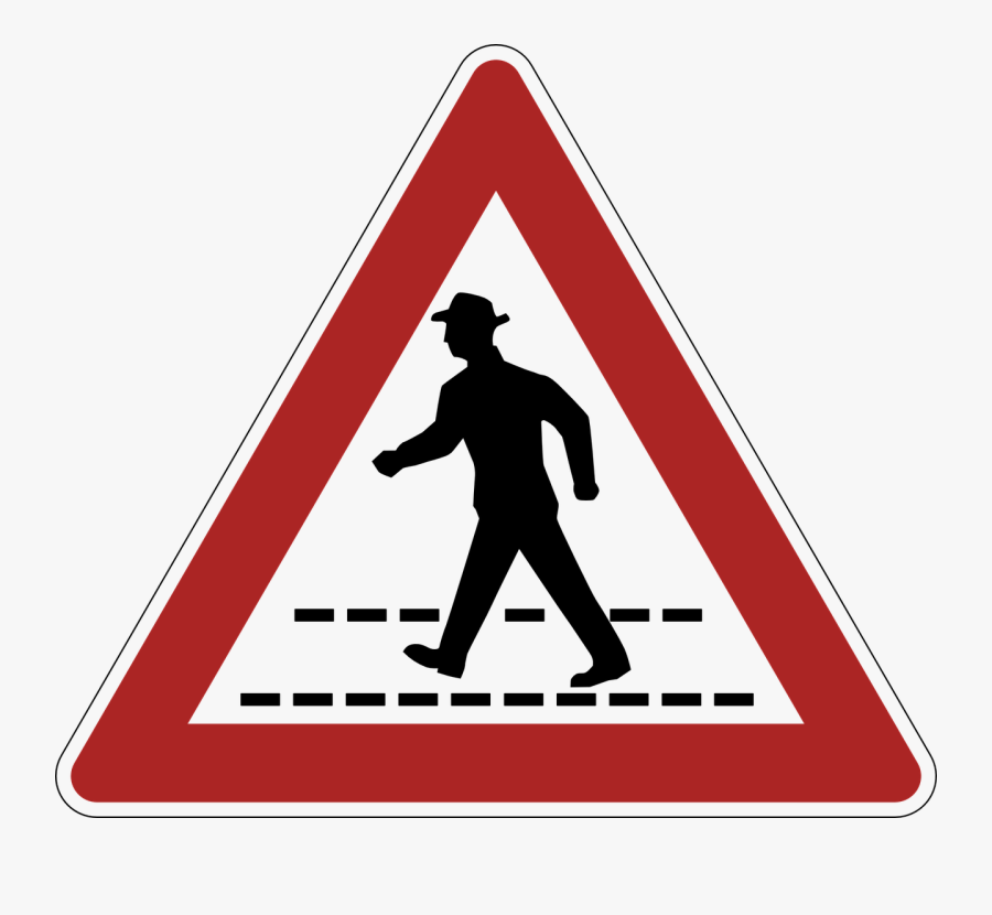 Germany, Pedestrian Crossing, Danger, Warning Clipart - Pedestrians In Road Ahead Sign, Transparent Clipart