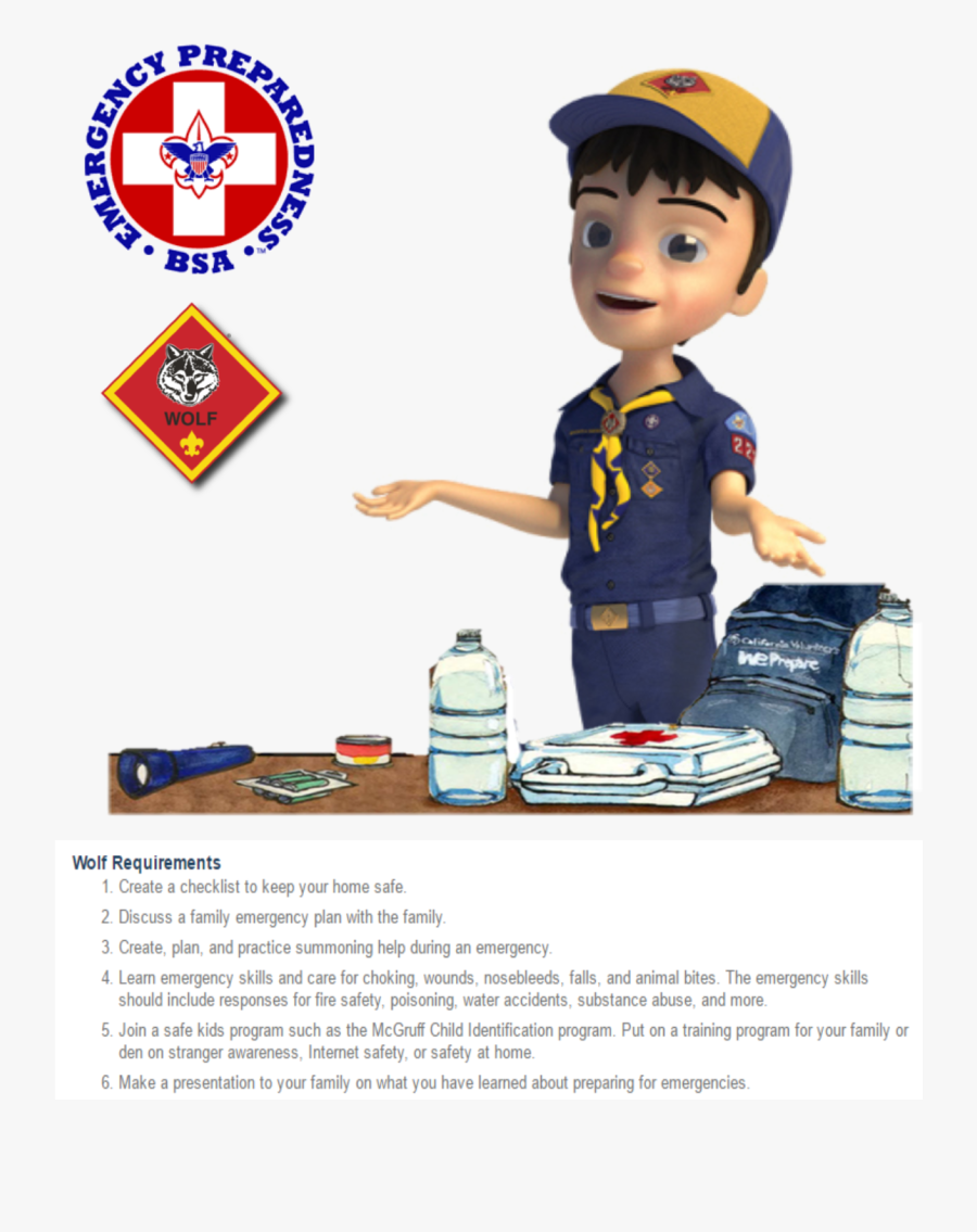 Wolf Emergency Prep - Cub Scout Boy, Transparent Clipart