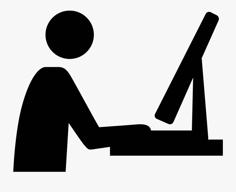 Designer Vector Workspace - User At Computer Icon, Transparent Clipart