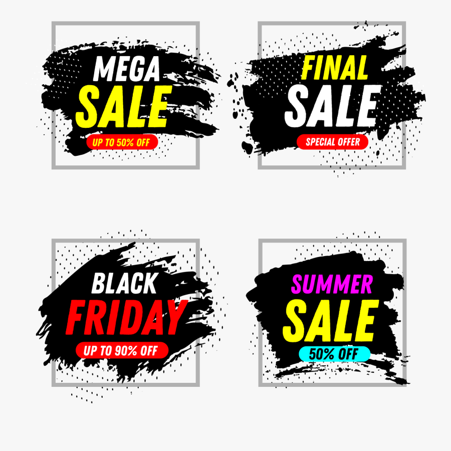 Set Of 4 Abstract Brush Sales Banners - Graphic Design, Transparent Clipart