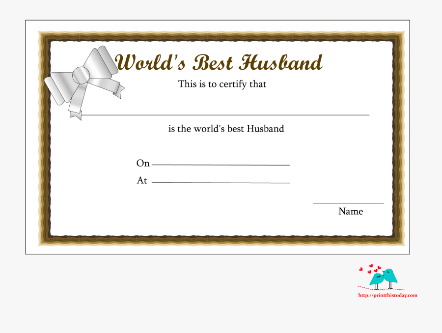 Free Printable World - Worlds Best Husband Award, Transparent Clipart