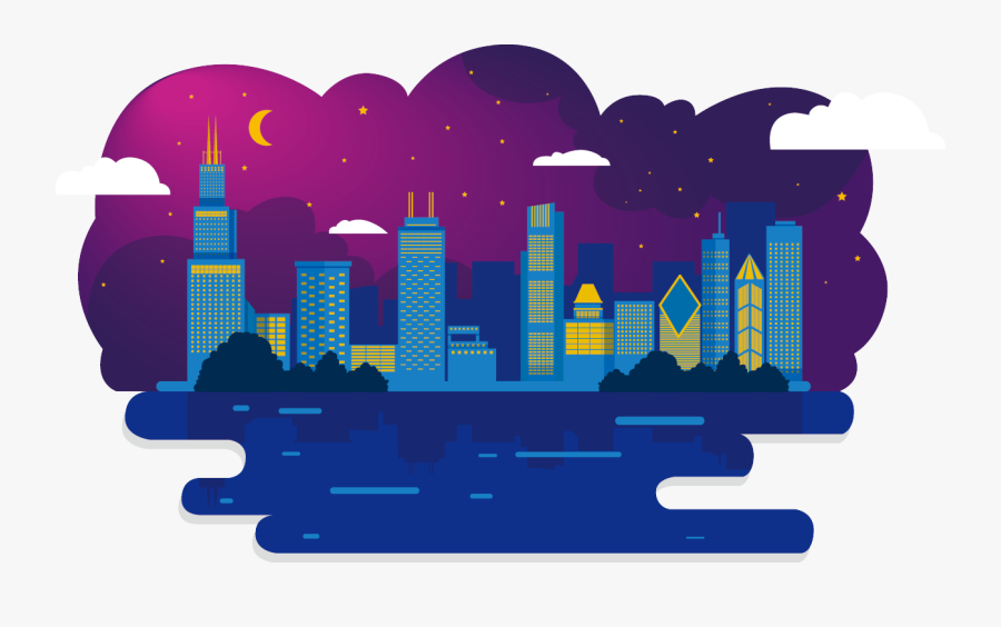 Skyline Clipart City India - Night City Illustration Png, Transparent Clipart