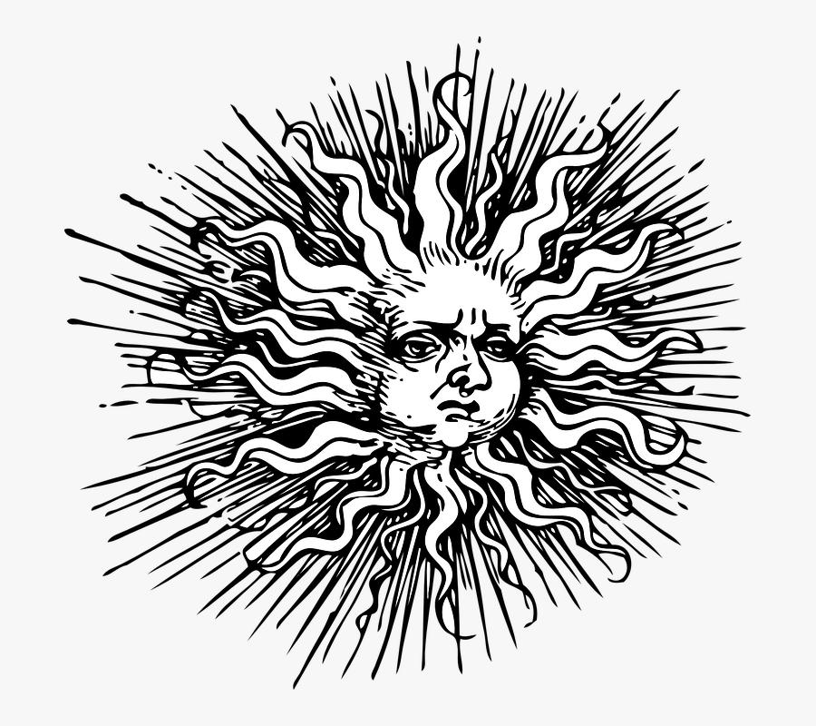 Black And Art,organism,monochrome Art,graphics,coloring - Vintage Clip Art Sun, Transparent Clipart