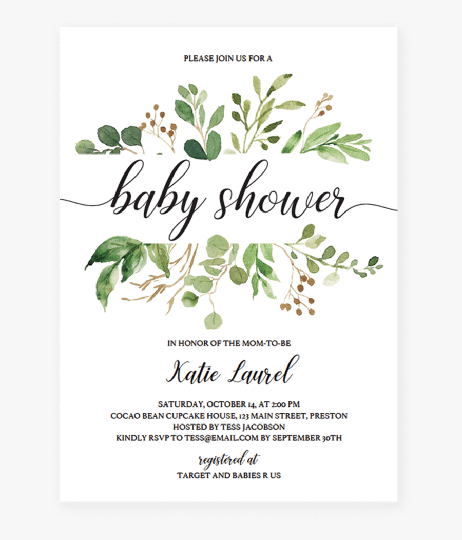 Clip Art Baby Shower Postcard - Greenery Invitation Template Free, Transparent Clipart